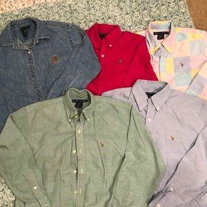 5 Ralph Lauren Long sleeve button down shirts sz 6